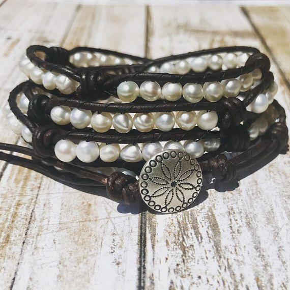 Pearl and Leather Boho Wrap Bracelet