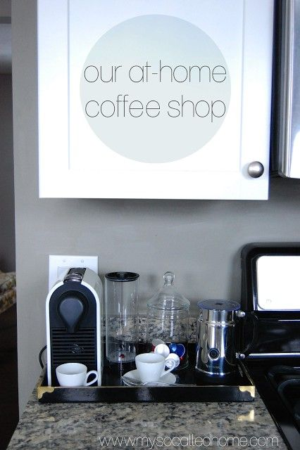 Our at-home coffee shop. The coffee bar in our kitchen with Nespresso U machine in Cream