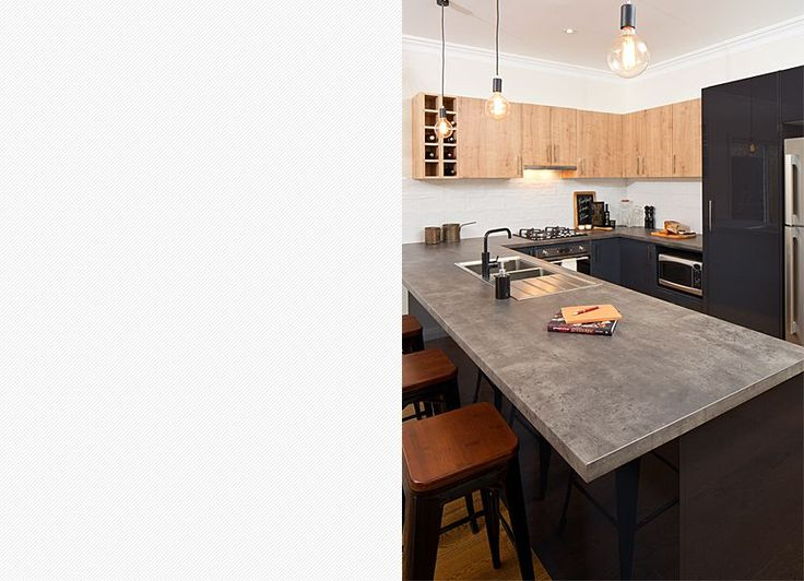 With plenty of room to prepare and enjoy meals; this long breakfast bar is really the hub of the kitchen.  Visit kaboodle.com.au for more inspiration!