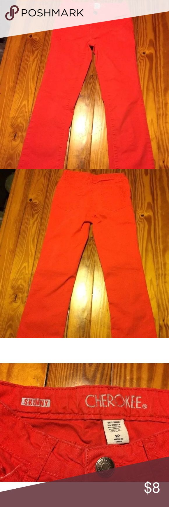 Girl's CHEROKEE Skinny Red Pants Girl's CHEROKEE Pants - Red - Skinny Fit - Size 12 - Adjustable Waist Cherokee Bottoms Casual