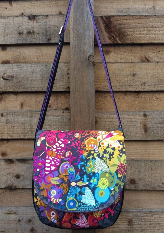Alison Glass Ex Libris and eco leather saddle bag  by SewCanSue