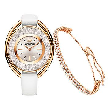 Add glamorous Swarovski sparkle to your wrist with this chic set, which includes a Crystalline Oval Watch and a subtle rose gold-plated bracelet. The ... Shop now