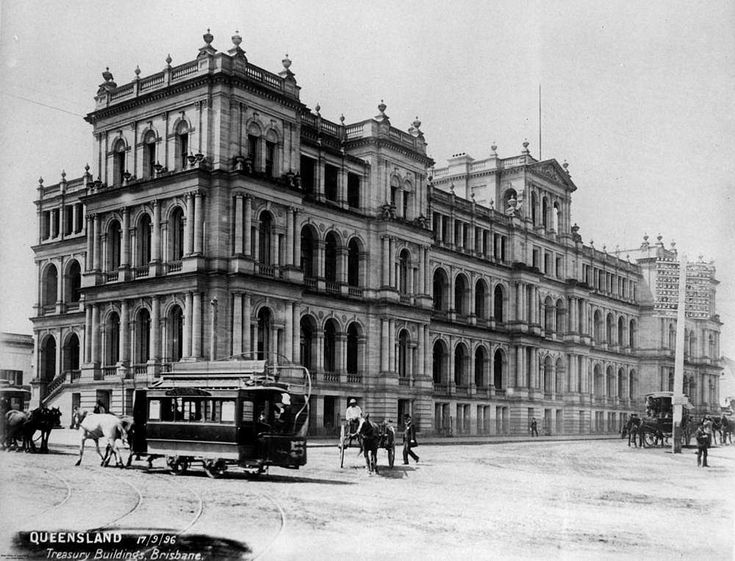 Treasury Building, Brisbane, 1896 - View of the Treasury Building which housed the public offices of the Government. The building was designed in Italian Renaissance style by the architect J.J. Clark. The building is now known as the Treasury Casino.