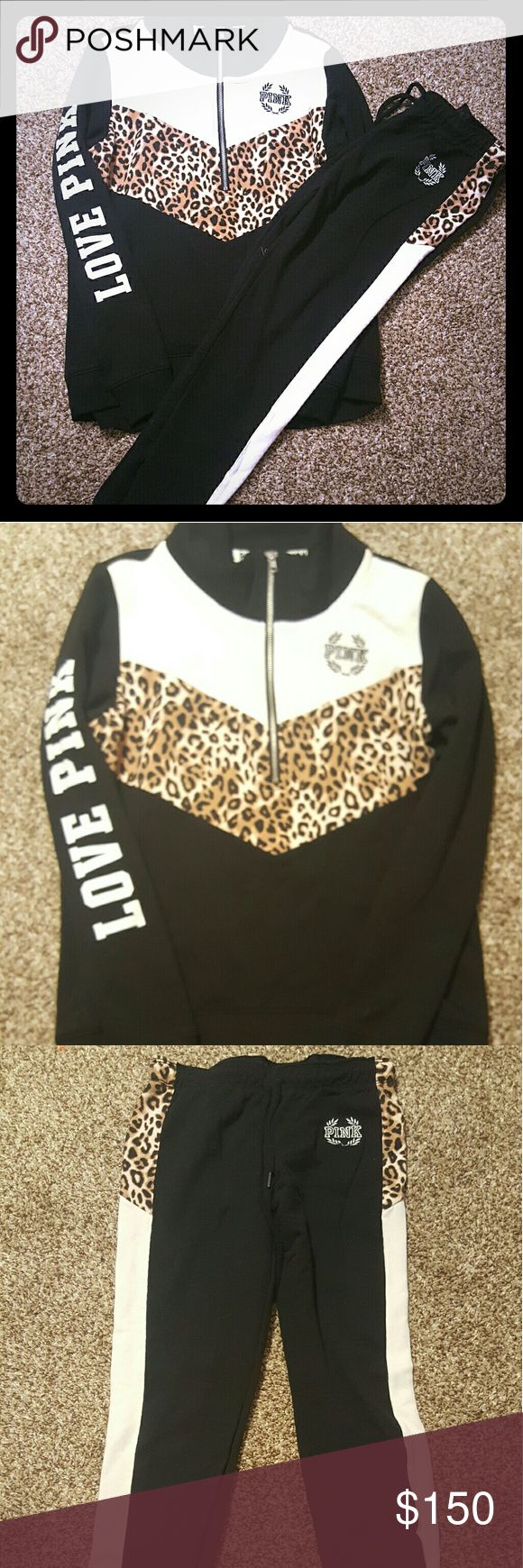 Beautiful Vs pink cheetah outfit Gorgeous cheetah outfit from Victoria secret pink.  Both size extra small. Great condition only worn a couple of times. Sweatshirt is a half zip fits more like a small and the sweatpants are skinnies cinched at the ankle and it ties at the waist . Fits more like a small. Cheetah print, black and white. PINK Victoria's Secret Other