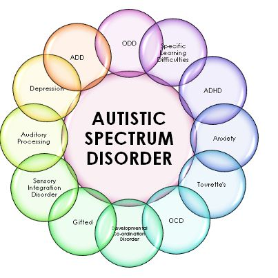 The ones in bubbles are co-morbid conditions that can exist along with ASD or they can stand alone as an individual diagnosis eg someone who has a primary diagnosis of OCD doesn't have an ASD but a person with a primary diagnosis of ASD can have a secondary diagnosis of ADHD, or SPD or ODD, OCD etc