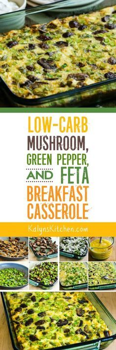 Low-Carb Mushroom, Green Pepper, and Feta Breakfast Casserole
