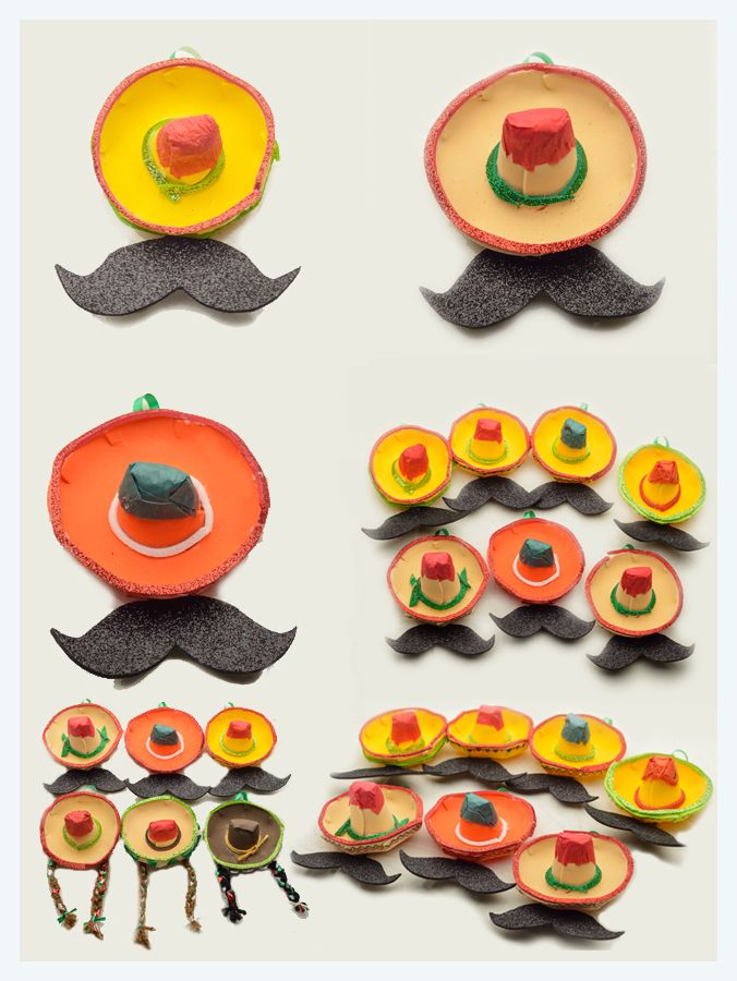 distintivos sombreros de fomi. revolución mexicana mexican party, cinco de mayo.