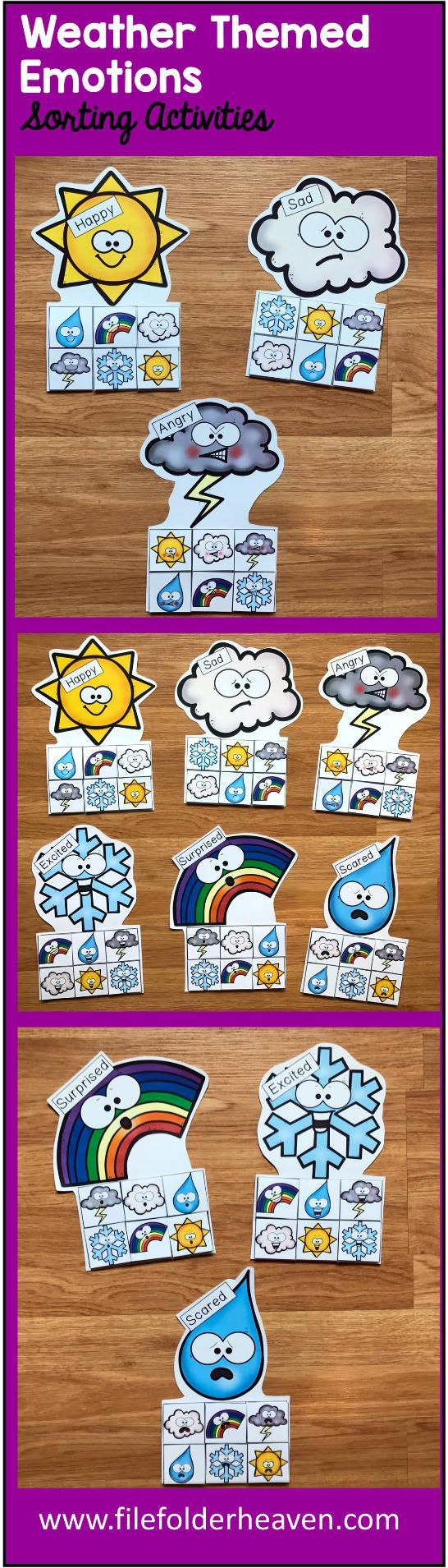 These Weather Emotions Sorting Activities offer a fun and hands-on way for students to work on and review, identifying emotions. This set includes 6 unique mats: Raindrop, Thunderstorm, Snowflake, Rainbow, Cloud, and Sunshine   At an independent workstation, center or language group, students complete the following sorting and classification activities.  Sorting Happy Sorting Sad Sorting Excited Sorting Surprised Sorting Angry Sorting Scared  To increase or decrease difficulty for students…
