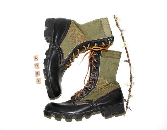 Vintage JUNGLE Boots Olive Nylon And Leather Vietnam Era ...
