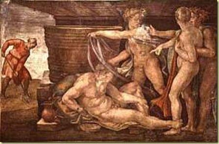 Noé, hombre bueno, salvado por Dios en el Arca. Se cree que fue quien primero plantó viñas e hizo el primer vino, embriagándose sin conocer sus consecuencias.