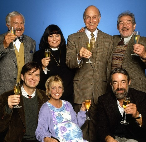 """The Vicar of Dibley"" cast - The Vicar of Dibley is a British sitcom created by Richard Curtis and written for its lead actress, Dawn French, by Curtis and Paul Mayhew-Archer, with contributions from Kit Hesketh-Harvey. [1994 to 2007].  Wikipedia. With Dawn French, Gary Waldhorn, James Fleet, Emma Chambers, Trevor Peacock, Liz Smith, Dawn French, Liz Smith, Gary Waldhorn, Roger Lloyd-Pack, John Bluthal."