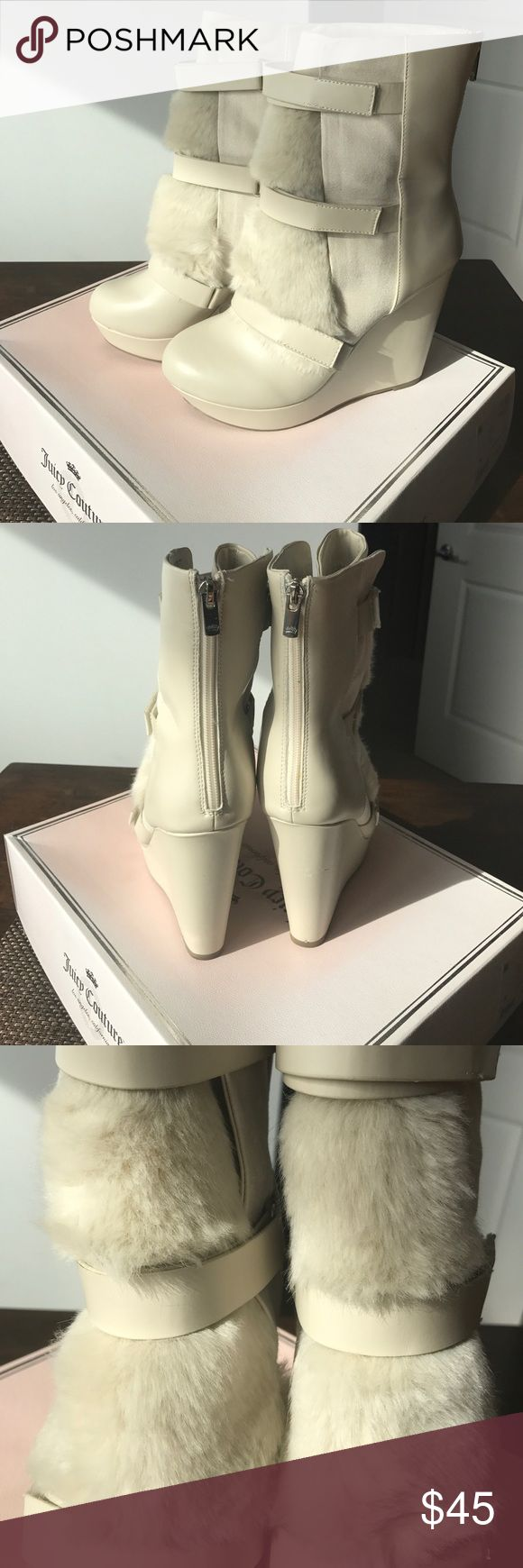Juicy Couture leather fur wedges Great condition, worn once. Juicy couture fur booties, light tan. Juicy Couture Shoes Heeled Boots
