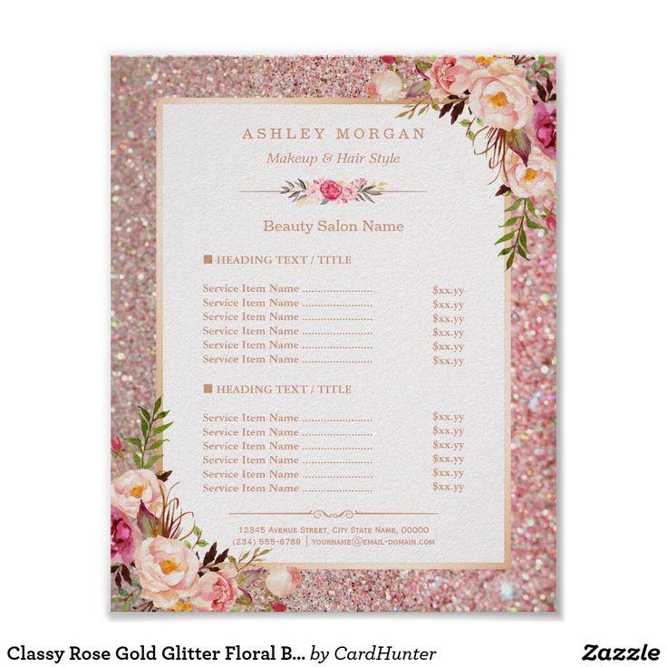 Best 25 salon menu ideas on pinterest beauty price list ideas classy rose gold glitter floral beauty salon menu poster stopboris Images