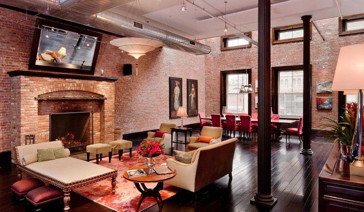 Manhattan wow!: Interior Design, Favorite Places, Dream, Brick, Living Room, Apartment, House, Space, Tribeca Loft