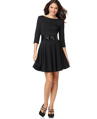 NY Collection Petite Dress, Three Quarter Sleeve Belted A-Line - Womens Petite Dresses - Macy's