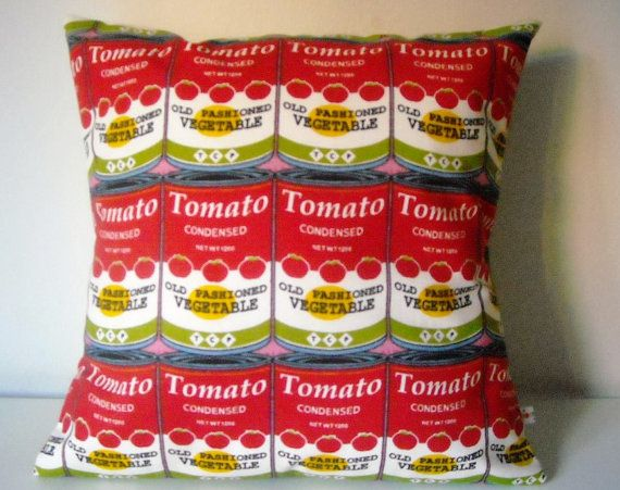 Pop Art Cushion cover inspired tomato cans Warhol 40x40 cm 16x16 inches