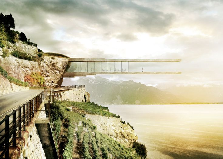 Swiss studio Mauro Turin Architectes wants to celebrate the history of the Lavaux wine-making region in Switzerland by cantilevering a museum from the side of a mountain