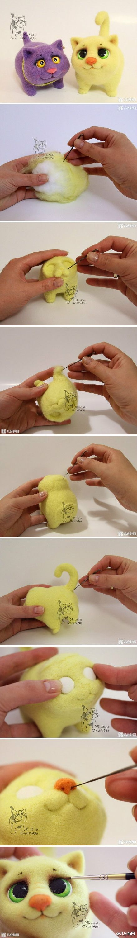 The Wool Felt poke Moe cat dolls, small eyes too sprouting a few minutes to net a lot of wool felt tutorial: