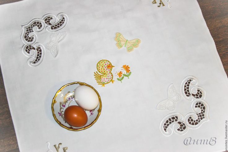 Купить салфетка вышитая декоративная Пасхальный цыпленок - салфетка пасхальная, салфетка на пасху, салфеточка для пасхи