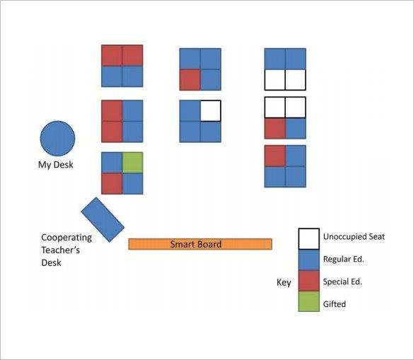 Classroom Seating Chart Sample - Blue Layouts