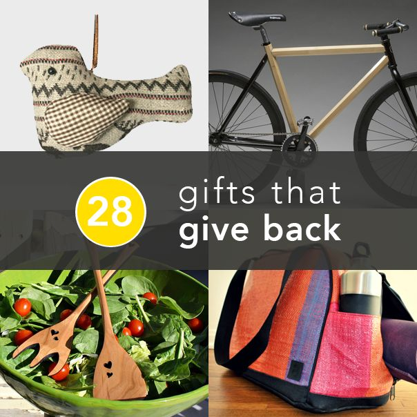Gifts That Give Back to charities. Salad spoons, Christmas ornaments, sports equipment, gift baskets and goodies.