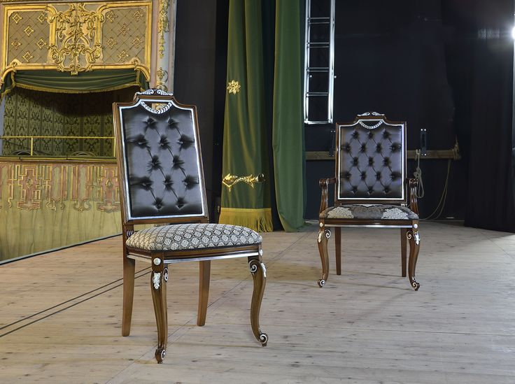 Carlo Magno Chair and armchair by new Venetasedie luxury collection. Shot in a beautiful theatre, to show the beauty of the fabrics and the wood details.