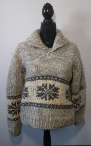 Vintage Hand Knit Wool Cowichan Pullover Sweater Women's M-L Collared Snowflake