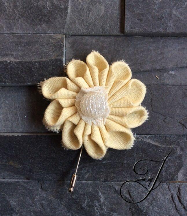 Daisy linnen lapel flower/pin
