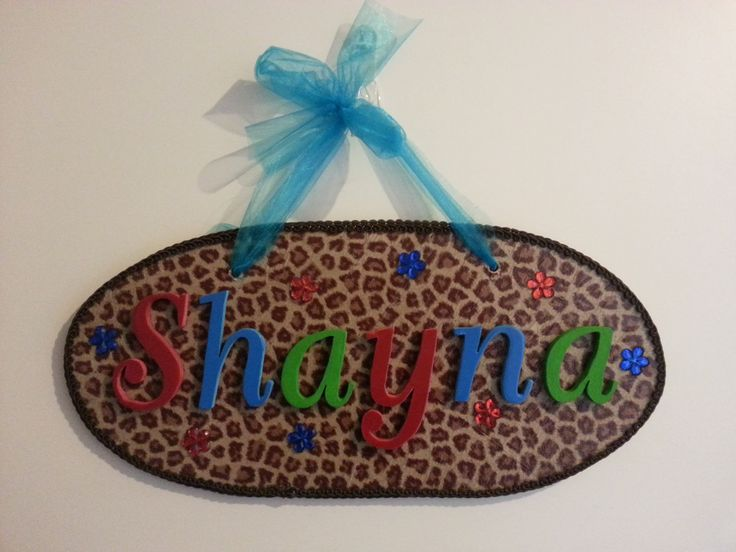 Name plaque: decopage, wood, organza & embellishments.