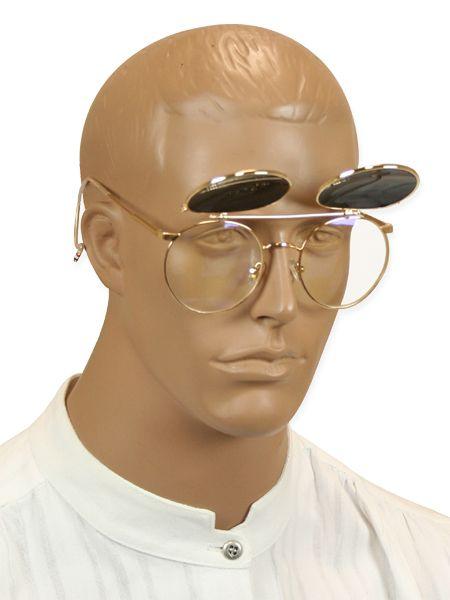 Steampunk Mens Gold Alloy,Plastic Sunglas | Gothic | Pirate | LARP | Cosplay | Retro | Vampire || Kilimanjaro Flip-Up Sunglasses - Gold