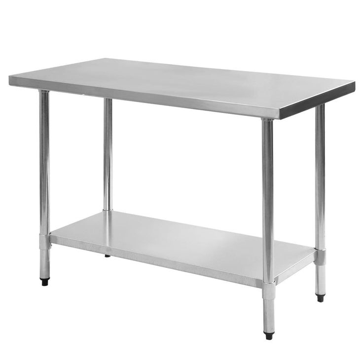 Costway 24'' x 48'' Stainless Steel Work Prep Table Commercial Kitchen Restaurant, White