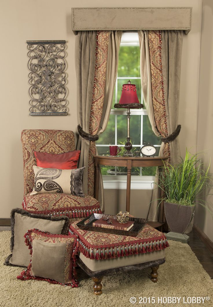 Use traditional fabric styles to make curtains, reupholster furniture and cover or add borders to pillows.