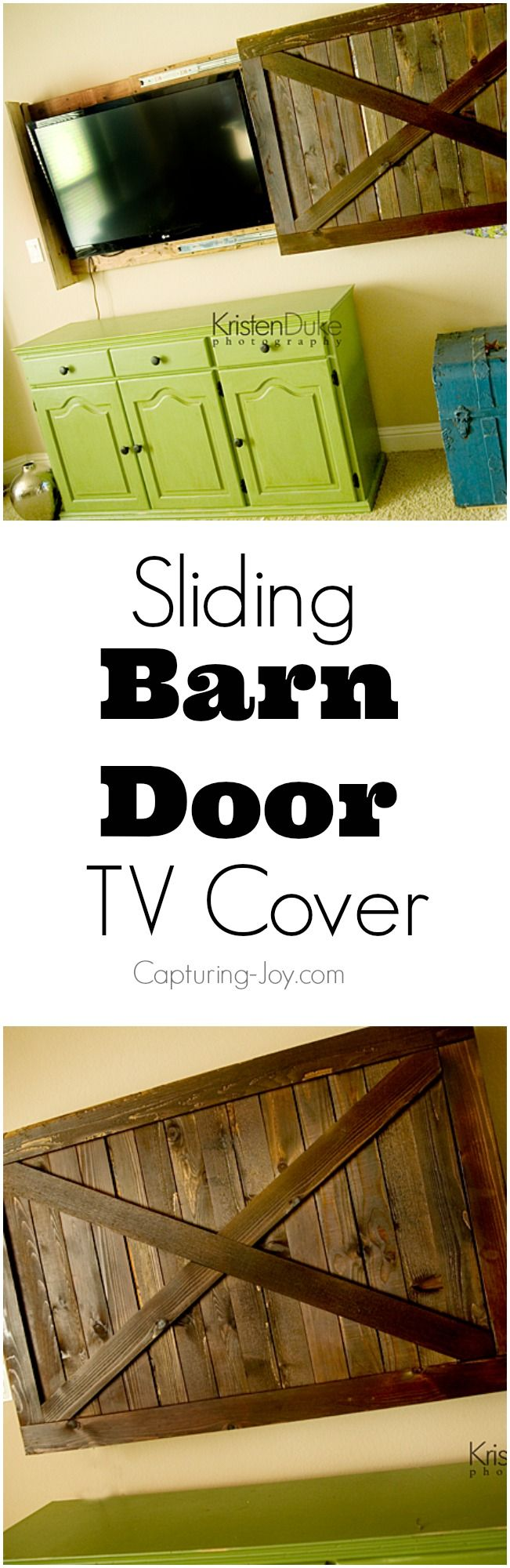 Cover your TV when it isn't in use!  DIY Sliding Barn Door TV Cover Tutorial on Capturing-Joy.com