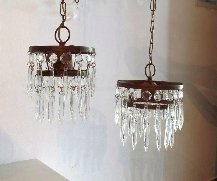 lampara de techo colgante con caireles vintage cod-043