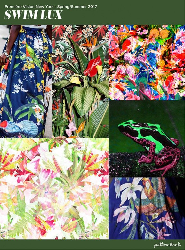 Premiere-vision-pattern-trends-spring-summer-2017-New York-Swim-Lux - Bright tropicals / Tight intense pattern / Yellow grounds / Lush saturation / Darker Grounds