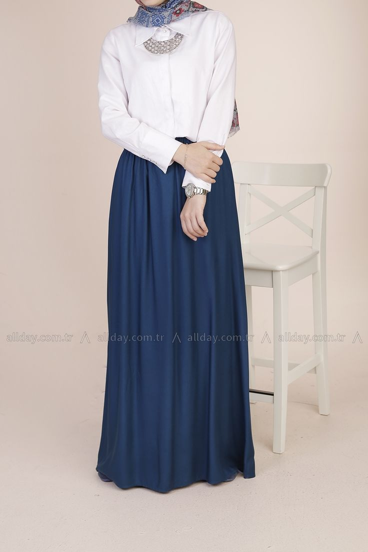 ALLDAY Turkish fashion, Hijab style, navy maxi skirt with white blouse. formal hijab style