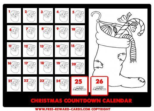 Christmas countdown calendar drawing