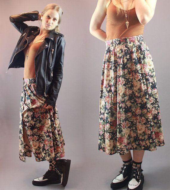 Vintage 90s Skirt Voluminous Floral Print by BadassVintageRevival