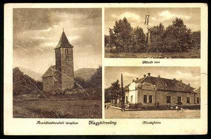 Nagybörzsöny Árpádház-korabeli templom; Hősök tere; Községháza   Képeslapok   Hungaricana