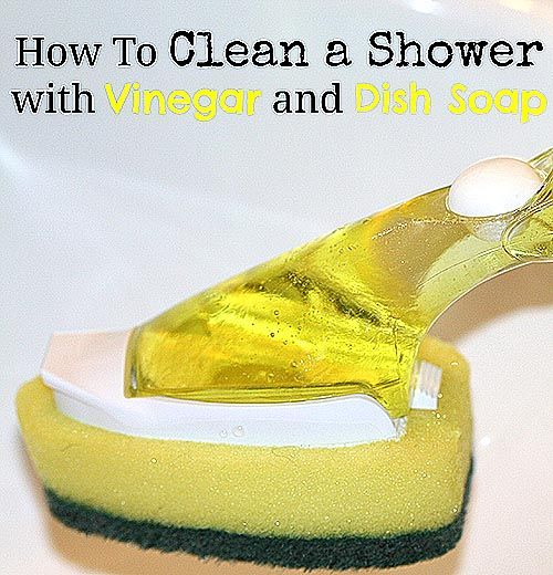 Easy Homemade Shower Cleaner: Dish scrubber you can fill with cleaner, Vinegar, Dish soap (I just used the cheap kind and it worked fine, but I've had feedback that Blue Dawn dish soap is amazing for this.) Fill scrubber with 1:1 ratio of vinegar & soap, allowing the vinegar to work it's magic and the sudsy soap to do it's best as well.