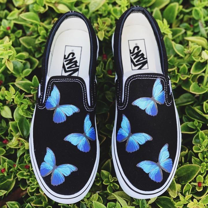 Blue Butterfly Black Slip On – Black