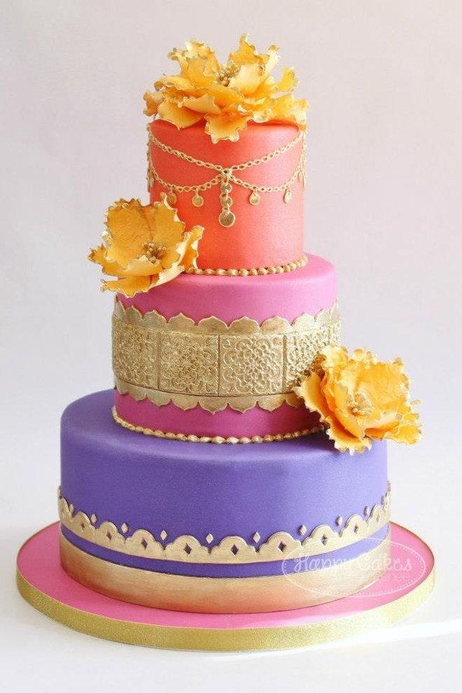 Magnifique dessert de mariage marocain : un gâteau wouhaou coloré