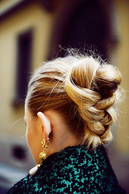 voluminous braid/bun