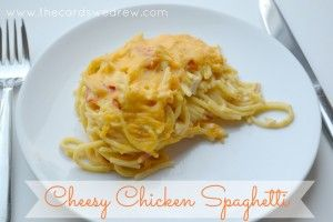 Cheesy Chicken Spaghetti with Velveeta - The Cards We Drew