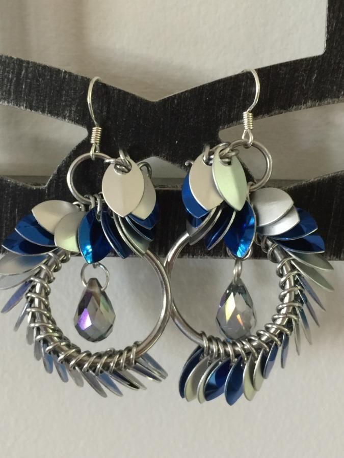 Tiny Scales Asymmetrical Earrings by bojanli