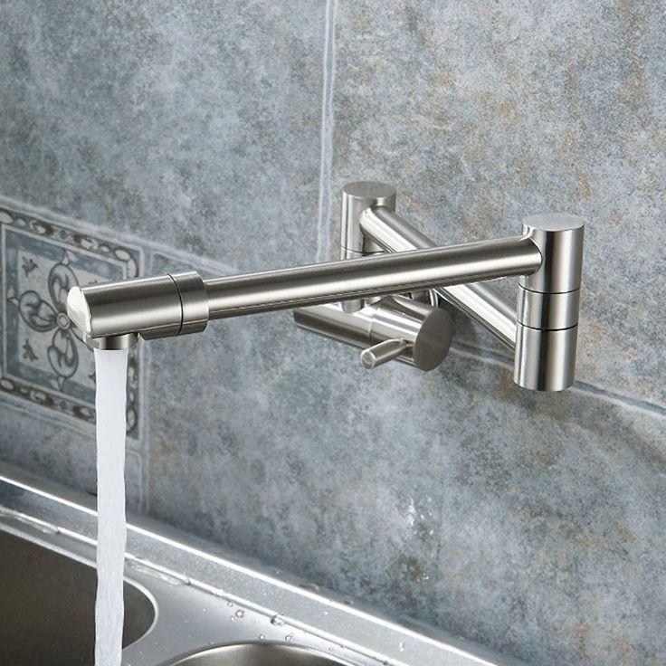 KES K920 2 Brass Single Handle Pot Filler Faucet Swing Spout Wall Mount,  Brushed