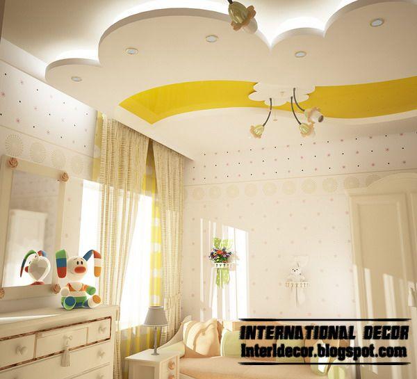 Best creative kids room ceilings design ideas, cool false ceiling with LED lights