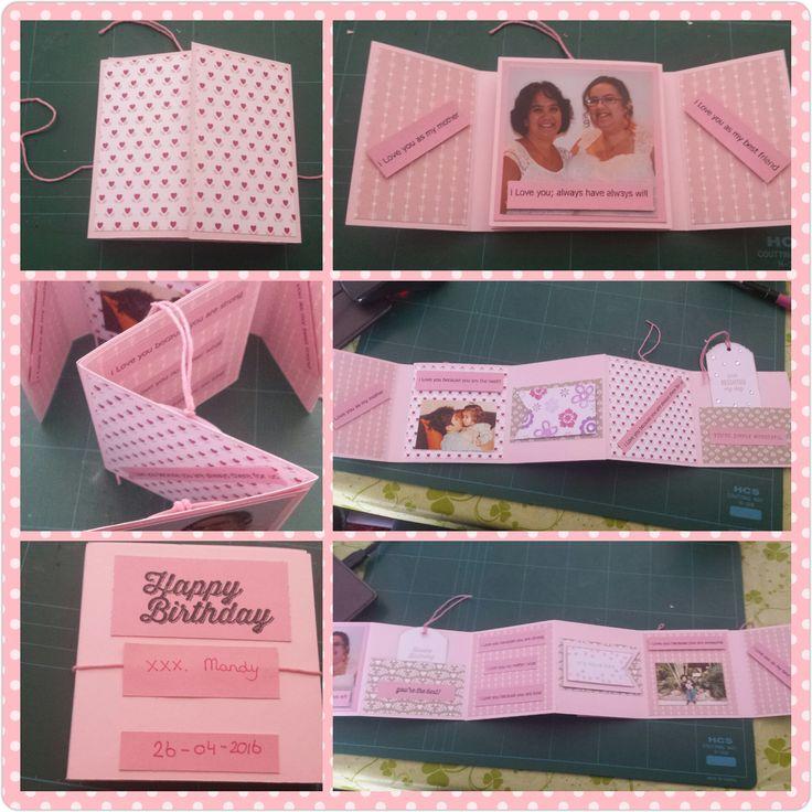 Mini album, basis design door Hélène den Breejen, met stampin up design papier en subtles basis papier. Inkt: Stampin up Blushin Bride. [Made by Mandy]