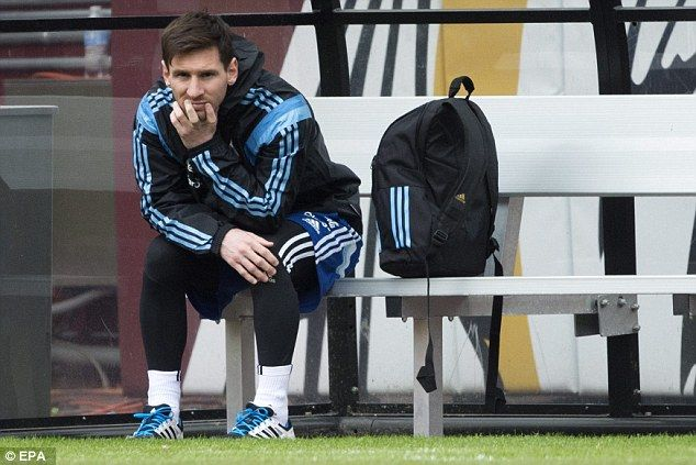 Lionel Messi was forced to watch from the sidelines as Argentina held a training session on Friday