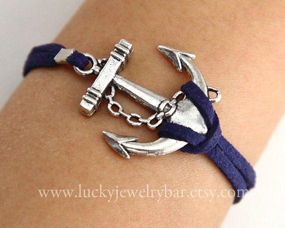 Anchor-antique silver anchor bracelet, navy blue leather bracelet, sailing bracelet 1-02. $1.99, via Etsy.